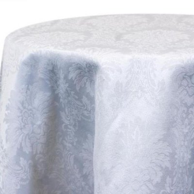 """Round Tablecloth 120"""" Damask White picture 1"""