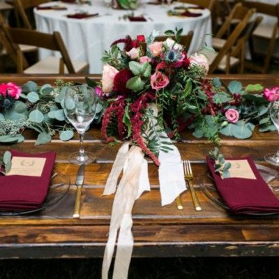"""Round Tablecloth 120"""" Poly Burgundy picture 2"""