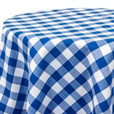 """Round Tablecloth 120"""" Poly Check Royal picture 1"""