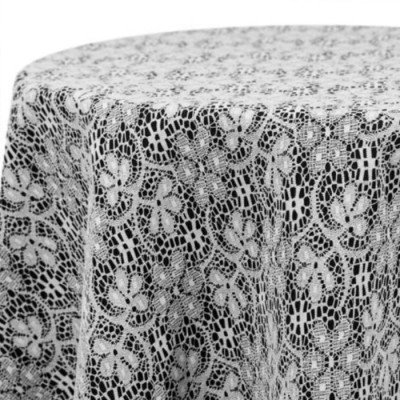 """Round Tablecloth 96"""" Poly Lace White picture 1"""