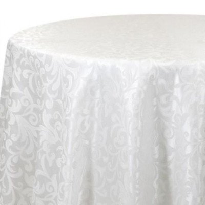 """Round Tablecloth 96"""" Somerset Damask White picture 1"""
