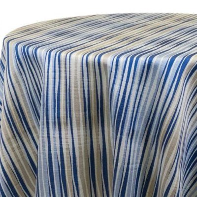 "Round Tablecloth 120"" Striae Blue picture 1"