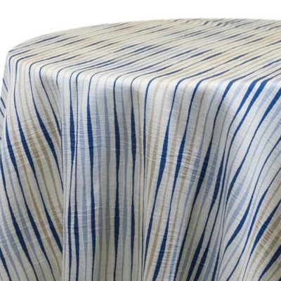 "Round Tablecloth 120"" Striae Blue picture 2"
