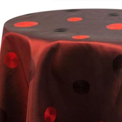 """Round Tablecloth 132"""" Circle Taffeta Red picture 1"""