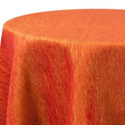 """Round Tablecloth 132"""" Krinkle Orange picture 1"""