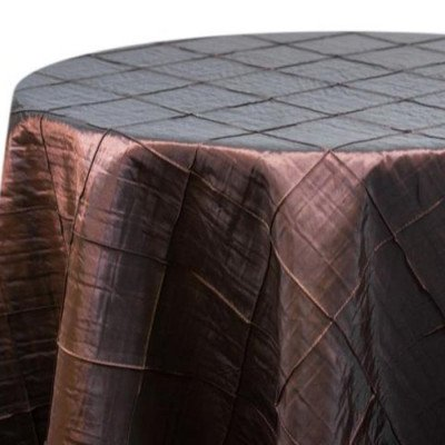 """Round Tablecloth 132"""" Pintuck Brown picture 1"""
