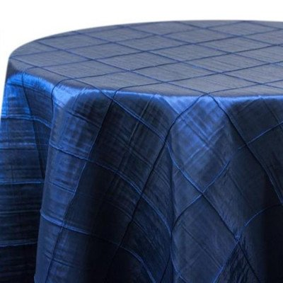 """Round Tablecloth 132"""" Pintuck Royal Blue picture 1"""