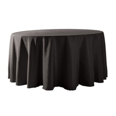 """Round Tablecloth 132"""" Poly Black picture 1"""