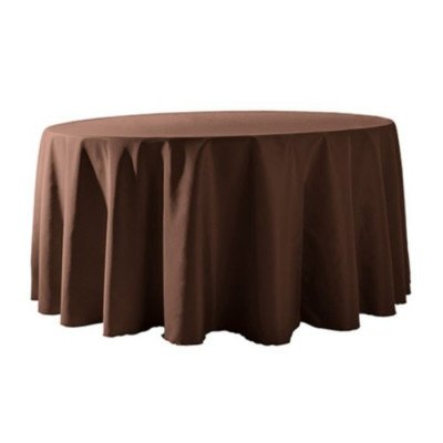 """Round Tablecloth 132"""" Poly Brown picture 1"""