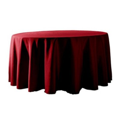 """Round Tablecloth 132"""" Poly Burgundy picture 1"""
