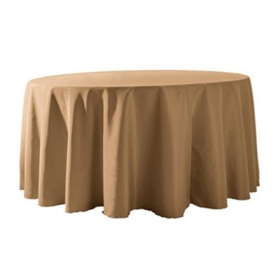 """Round Tablecloth 132"""" Poly Camel picture 1"""