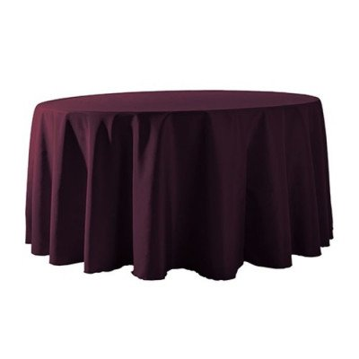"""Round Tablecloth 132"""" Poly Eggplant picture 1"""