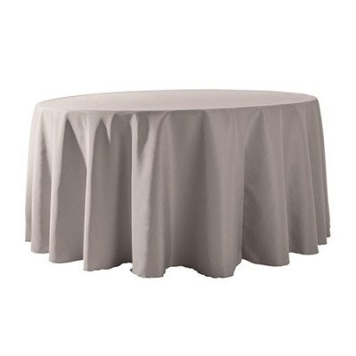 """Round Tablecloth 132"""" Poly Grey picture 1"""