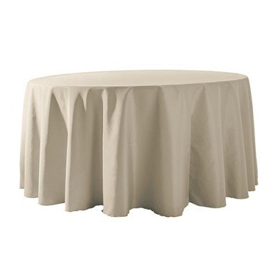 """Round Tablecloth 132"""" Poly Ivory picture 1"""