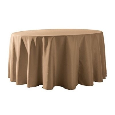 """Round Tablecloth 132"""" Poly Khaki picture 1"""