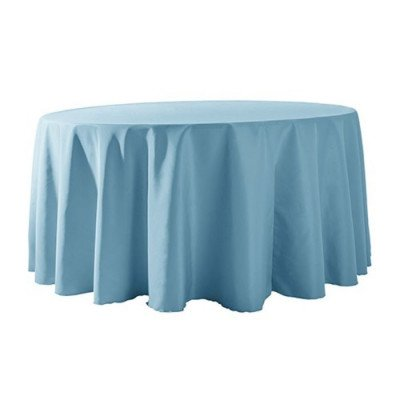 "Round Tablecloth 132"" Poly Light Blue picture 1"