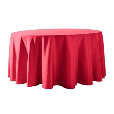 "Round Tablecloth 132"" Poly Neon Pink picture 1"