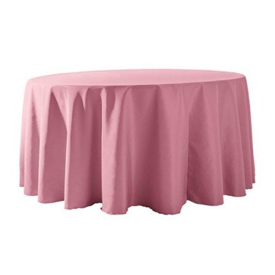 """Round Tablecloth 132"""" Poly Pink picture 1"""