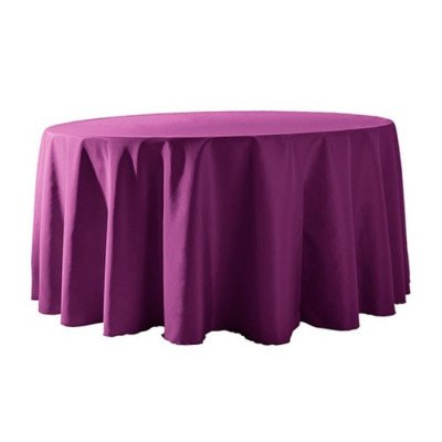 "Round Tablecloth 132"" Poly Plum picture 1"