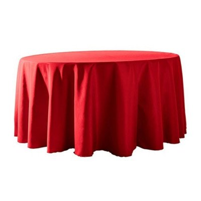 """Round Tablecloth 132"""" Poly Red picture 1"""