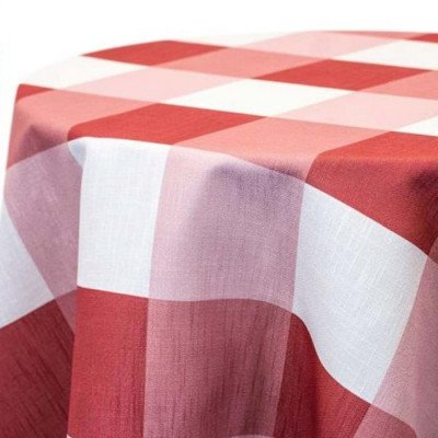 "Round Tablecloth 120"" Big Plaid Clay picture 1"