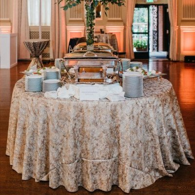 """Round Tablecloth 132"""" Travertine Gold picture 2"""