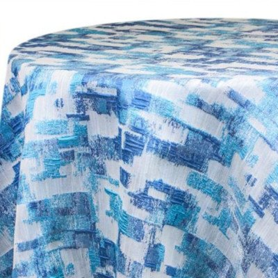 "Round Tablecloth 120"" Brushstrokes Blue picture 1"