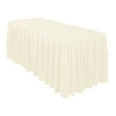 ivory – table skirt – poly - 17'