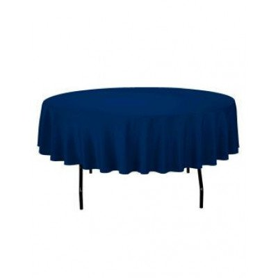 """navy blue - round tablecloth – poly – 90"""""""