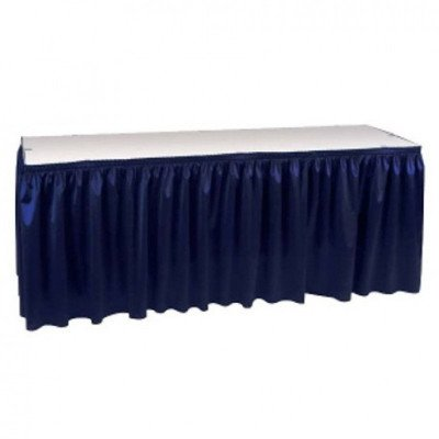 navy blue – table skirt – poly -17'