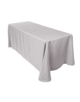 "silver - rectangle tablecloth – poly - 90""x132"""