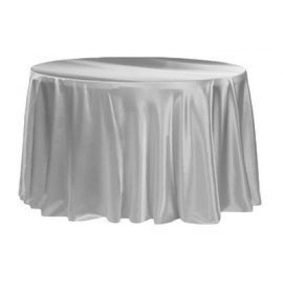 silver – round - tablecloth - satin 120""