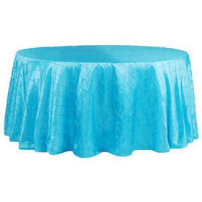 """turquoise – round - tablecloth – pintuck - 120"""""""