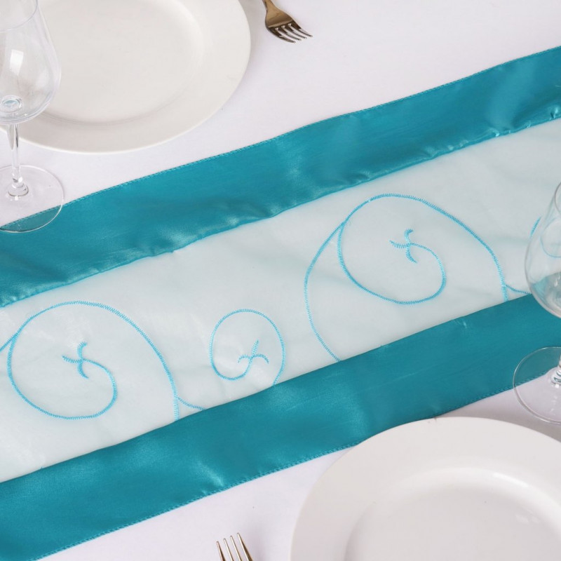 turquoise – table runner - embroider-1
