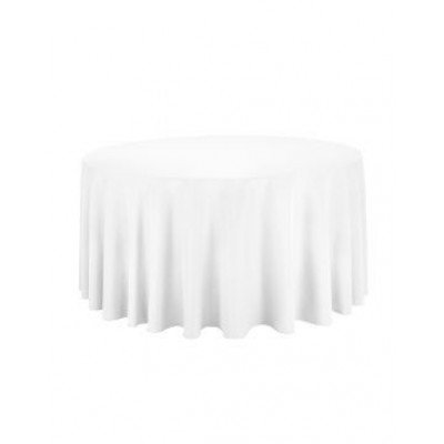 white - round tablecloth – poly – 120""