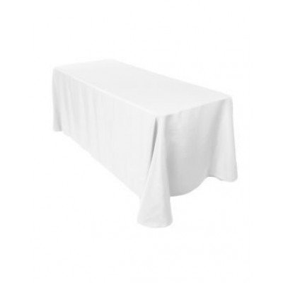 """white - rectangle tablecloth - poly- 90""""x156"""""""