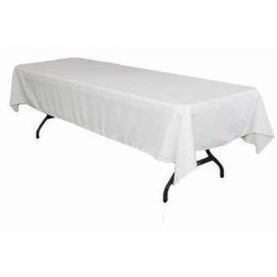 """white – rectangle tablecloth – poly - 50""""x120"""""""