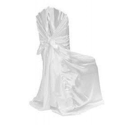 white – chair cover universal - satin