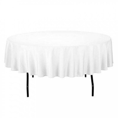 """white - round tablecloth - poly - 90"""""""