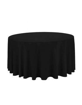 """black - round tablecloth – poly – 120"""""""