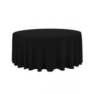 black – round tablecloth – poly – 132""