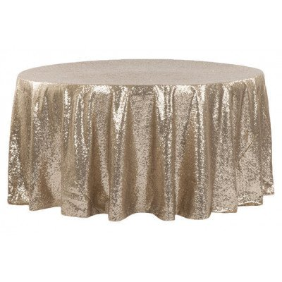 """champagne - round tablecloth - sequins – 120"""""""