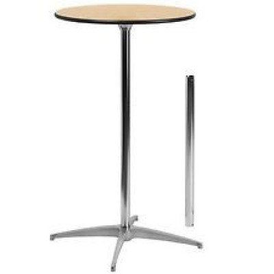 """cocktail table - round  - 24"""" wide top (polished steel)"""