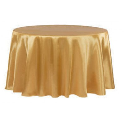 """gold – round - tablecloth - satin 120"""""""