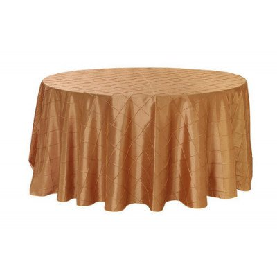 """gold – round - tablecloth – pintuck - 120"""""""