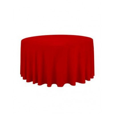 red- round tablecloth – poly – 120""