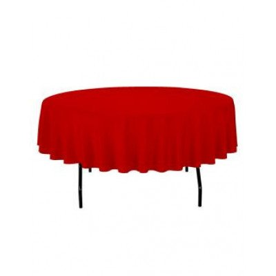 """red - round tablecloth – poly – 90"""""""