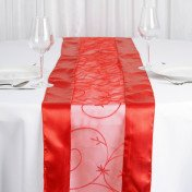 Red - table Runner - Embroider