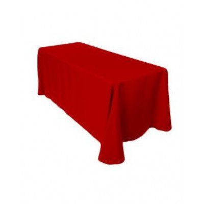 """red – rectangle tablecloth - poly- 90""""x156"""""""