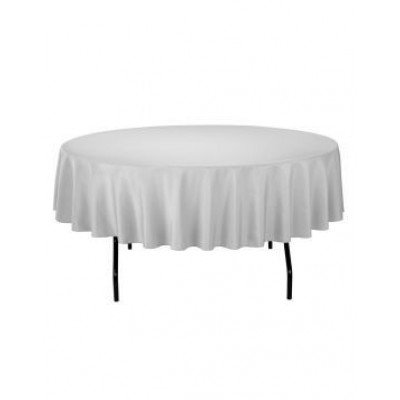 silver - round tablecloth – poly – 90""